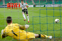 Pascal Itter of Germany and Nick Olij of Netherlands during the UEFA European Under-17 Championship Final match between Germany and Netherlands on May 16, 2012 in SRC Stozice, Ljubljana, Slovenia. (Photo by Urban Urbanc / Sportida.com)