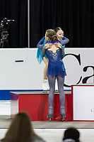 KELOWNA, BC - OCTOBER 26: Ladies gold medalist, Russian figure skater Alexandra Trusova congratulates silver medalist, Rika Kihira of Japan at the podium during medal ceremonies of Skate Canada International held at Prospera Place on October 26, 2019 in Kelowna, Canada. (Photo by Marissa Baecker/Shoot the Breeze)