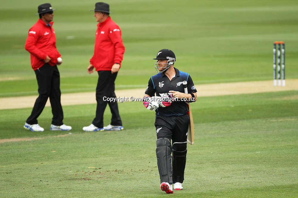 Brendon McCullum captain of the Black Caps after being dismissed by Tinashe Panyangara of Zimbabwe during the ICC Cricket World Cup warm up game between the Black Caps v Zimbabwe at Bert Sutcjliffe Oval, Lincoln, Christchurch. 9 February 2015 Photo: Joseph Johnson / www.photosport.co.nz