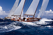 Galatea and Maggie B sailing the Butterfly Race at the Antigua Classic Yacht Regatta.