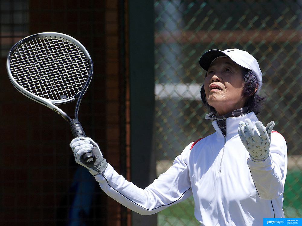 Kazuko Sakagami, Japan, in action in the 75 Womens Singles during the 2009 ITF Super-Seniors World Team and Individual Championships at Perth, Western Australia, between 2-15th November, 2009.