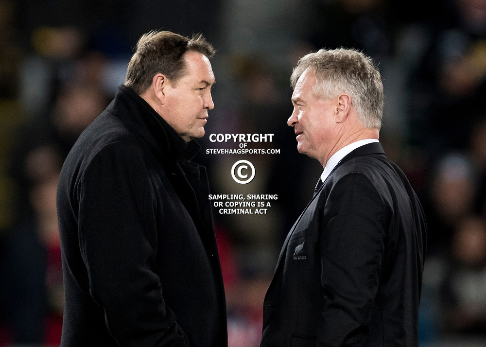 Steve Hansen & Grant Fox during game 7 of the British and Irish Lions 2017 Tour of New Zealand, the first Test match between  The All Blacks and British and Irish Lions, Eden Park, Auckland, Saturday 24th June 2017<br /> (Photo by Kevin Booth Steve Haag Sports)<br /> <br /> Images for social media must have consent from Steve Haag