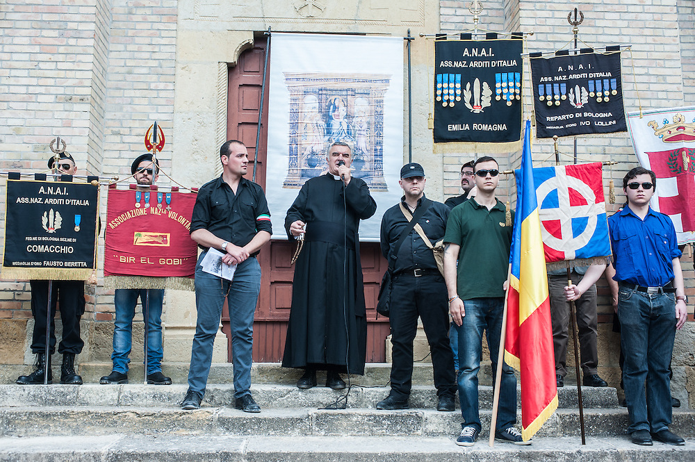 Predappio, Italy - 26 April 2014: Fascist sympathizers gather for the commemorations of Benito Mussolini's death in Predappio. Hundreds of fascist nostalgics gather each year in Predappio, where Mussolini was born, to commemorate Mussolini's birth, death and the March of Rome.