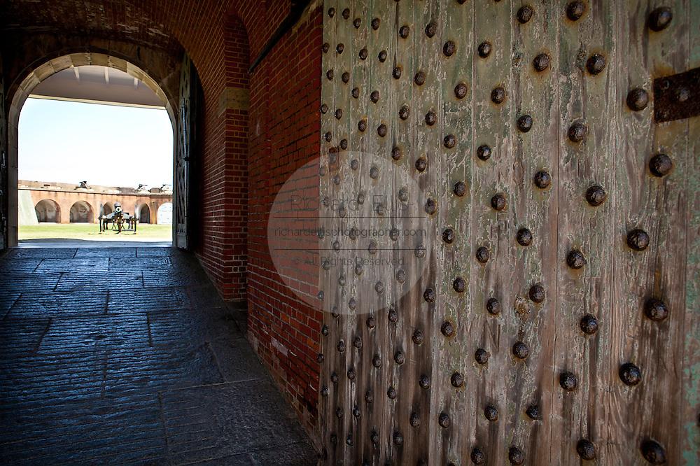 Entry to Fort Pulaski National Monument on Cockspur Island between Savannah and Tybee Island, Georgia.