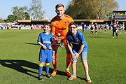 AFC Wimbledon goalkeeper George Long (1) winning an award during the EFL Sky Bet League 1 match between AFC Wimbledon and Bury at the Cherry Red Records Stadium, Kingston, England on 5 May 2018. Picture by Matthew Redman.