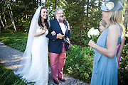 Ariana and her father David Rockefeller Jr. greet Ariana's step mother, Susan Cohn Rockefeller, before walking down the aisle at on Mount Desert Island, Maine, Saturday, September 4, 2010.  Craig Dilger for The New York Times