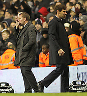 Picture by David Horn/Focus Images Ltd +44 7545 970036.28/11/2012.Andre Villas-Boas Manager of Tottenham Hotspur and Brendan Rodger, Manager of Liverpool after the Barclays Premier League match at White Hart Lane, London.