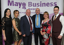 Pictured attending the 2018 Mayo Buisness Awards, Beatrice Barrett, Aoife Duffy, John McGrath, Tom and Finola Duffy and Thomas Duffy<br />