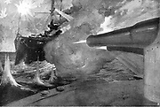 Russo-Japanese War 1904-1905: The guns of the Russian vessel 'Tsarevich' trained on the Japanese 'Mikasa', August 1904.