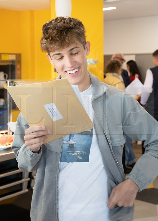 © Licensed to London News Pictures. 22/08/2019. Solihull, West Midlands UK. Solihull School GCSE results. Reiss celebrates his results. Photo credit: Dave Warren/LNP