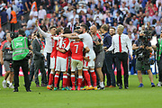 The Arsenal team celebrate at the final whistle during the The FA Cup final match between Arsenal and Chelsea at Wembley Stadium, London, England on 27 May 2017. Photo by Shane Healey.