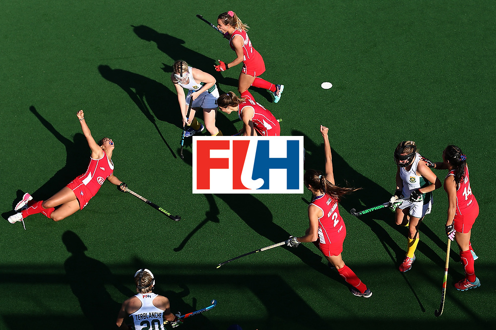 JOHANNESBURG, SOUTH AFRICA - JULY 14:  Manuela Urroz of Chile(L) celebrates scoring the winning goal during day 4 of the FIH Hockey World League Semi Finals Pool B match between Chile and South Africaat Wits University on July 14, 2017 in Johannesburg, South Africa.  (Photo by Jan Kruger/Getty Images for FIH)