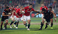 Rugby Union - 2017 British & Irish Lions Tour of New Zealand - Crusaders vs. British & Irish Lions<br /> <br /> Ben Te'o of The British and Irish Lions holds off  at AMI Stadium [Rugby League Park], Christchurch.<br /> <br /> COLORSPORT/LYNNE CAMERON