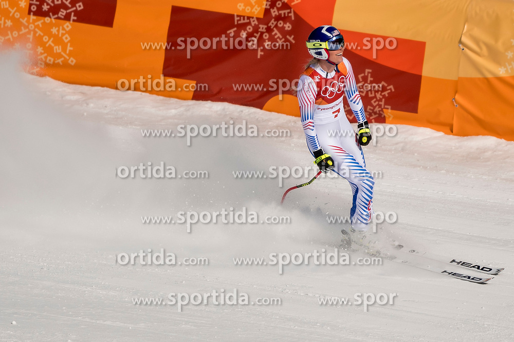 PYEONGCHANG-GUN, SOUTH KOREA - FEBRUARY 21:  Lindsey Vonn of the United States reacts during the Ladies' Downhill on day 12 of the PyeongChang 2018 Winter Olympic Games at Jeongseon Alpine Centre on February 21, 2018 in Pyeongchang-gun, South Korea. Photo by Ronald Hoogendoorn / Sportida