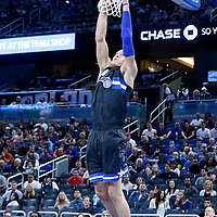25 February 2017: Orlando Magic forward Aaron Gordon (00) goes for the dunk during the Orlando Magic 105-86 victory over the Atlanta Hawks, at the Amway Center, Orlando, Florida, USA.
