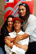 Pita Rona with parents Amanda and Brad, New Zealand baseball player Pita Rona signs with American Major League Baseball team the Baltimore Orioles. Sky City Grand hotel, Auckland. 19 January 2012. Photo: William Booth/photosport.co.nz