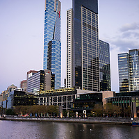 The eureka Skydeck beside the river Yarra in Melbourne Australia