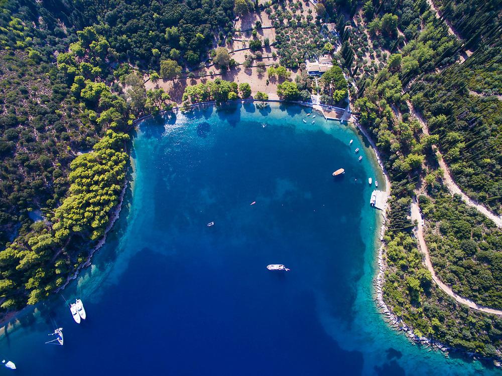 Aerial image of Sxoinas beach in Ithaca island, Greece