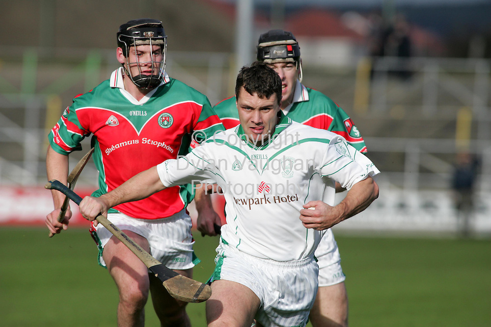 17/10/2004.pictured in action at the St Canices Kilkenny senior and intermediate hurling semi final between James Stephens  and O Loughlin Gaels was O Loughlin Gaels Jason Lalor and James Stephens Martin Phelan (right) and Jackie Tyrrell (left).Picture Dylan Vaughan