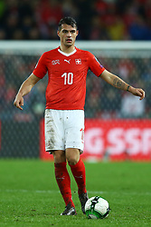 November 12, 2017 - Basel, Switzerland - Granit Xhaka of Switzerland  during the FIFA 2018 World Cup Qualifier Play-Off: Second Leg between Switzerland and Northern Ireland at St. Jakob-Park on November 12, 2017 in Basel, Basel-Stadt. (Credit Image: © Matteo Ciambelli/NurPhoto via ZUMA Press)