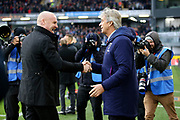 Burnley Manager Sean Dyche and West Ham United Manager Manuel Pellegrini  shake hands  during the Premier League match between Burnley and West Ham United at Turf Moor, Burnley, England on 9 November 2019.