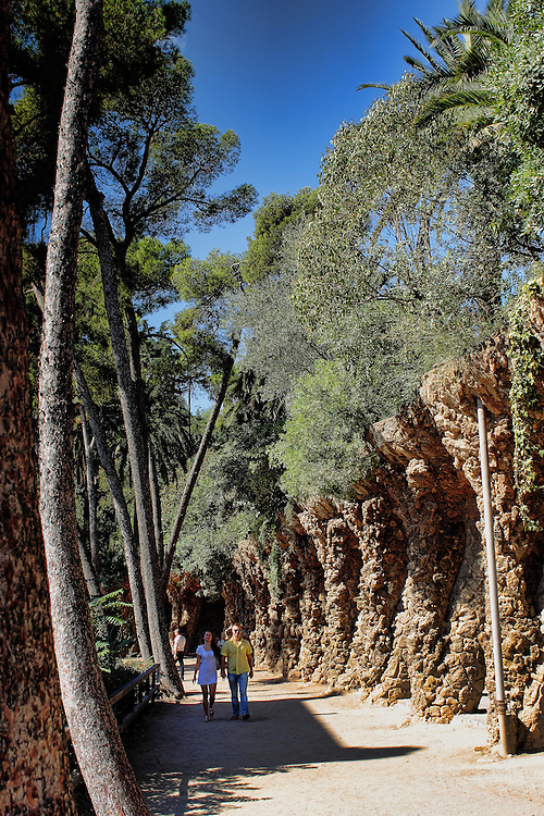 View of a walking path in Park Guell, Barcelona.