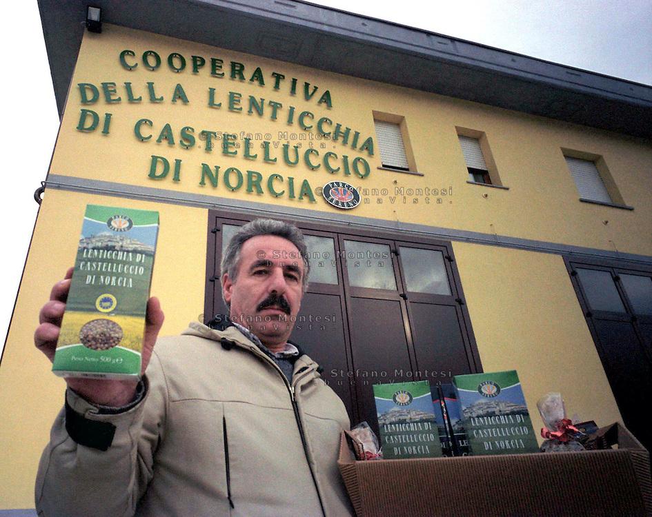 Febbraio 2002.Norcia.Sante Coccia president of the Cooperative Castelluccio lentils of Norcia.Umbrian typical food products