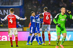 Alex Rodman of Bristol Rovers is congratulated by Josh Ginnelly of Bristol Rovers after winning a penalty - Mandatory by-line: Dougie Allward/JMP - 25/01/2020 - FOOTBALL - Memorial Stadium - Bristol, England - Bristol Rovers v Fleetwood Town - Sky Bet League One