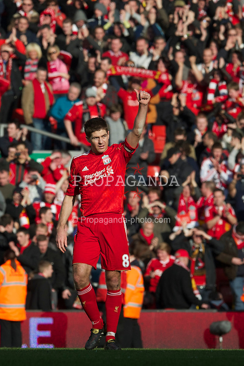 LIVERPOOL, ENGLAND - Sunday, March 6, 2011: Liverpool's captain Steven Gerrard MBE celebrates his side's emphatic 3-1 victory over Manchester United during the Premiership match at Anfield. (Photo by David Rawcliffe/Propaganda)