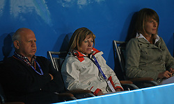 Janez Kocijancic of OKS, Mima Jausevec and Polona Hercog as spectators at 2nd Round of Banka Koper Slovenia Open 2008, on July 22, 2008, Portoroz - Portorose, Slovenia. (Photo by Vid Ponikvar / Sportal Images)...