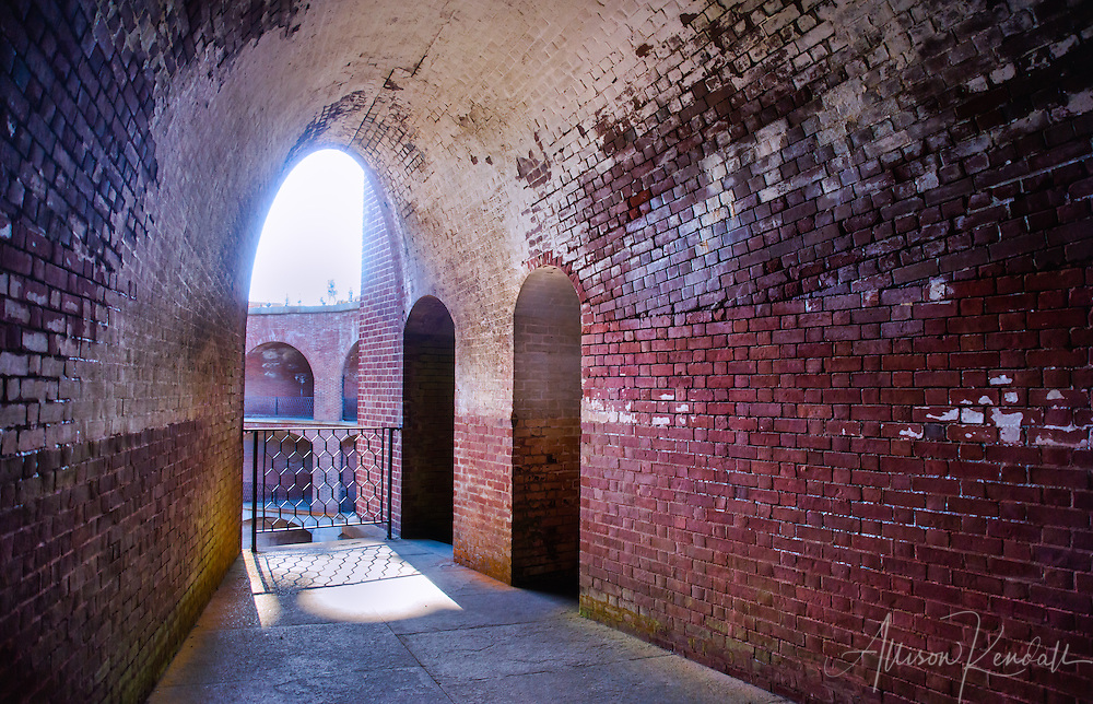 Brick walls and archways of Fort Point, San Francisco