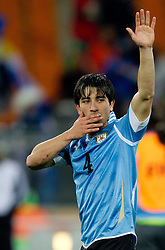 02.07.2010, Soccer City Stadium, Johannesburg, RSA, FIFA WM 2010, Viertelfinale, Uruguay (URU) vs Ghana (GHA) im Bild Jorge Fucile of Uruguay celebrates after penalty shots, EXPA Pictures © 2010, PhotoCredit: EXPA/ Sportida/ Vid Ponikvar, ATTENTION! Slovenia OUT
