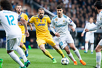 Real Madrid Marco Asensio and Juventus Giorgio Chiellini during Champion League match between Real Madrid and Juventus at Santiago Bernabeu Stadium in Madrid, Spain. April 11, 2018. (ALTERPHOTOS/Borja B.Hojas)