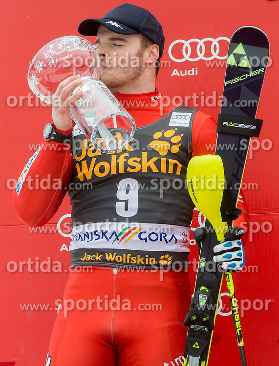 Second placed RAZZOLI Giuliano of Italy during trophy ceremony after the 2nd Run of Men Slalom race of FIS Alpine Ski World Cup 54th Vitranc Cup 2015, on March 15, 2015 in Kranjska Gora, Slovenia. Photo by Vid Ponikvar / Sportida