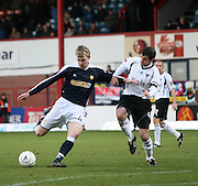 IRN BRU Scottish League First Division<br /> Dens Park, 05/01/2008<br /> <br /> Dunfermline's Stevie Crawford can't stop Kevin McDonald's shot<br />  <br /> David Young<br /> <br /> Monifieth<br /> Dundee<br /> <br /> Tel: <br /> Email: davidy233@gmail.com