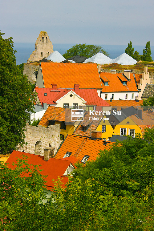 Red roofs and ruins of St. Nicolaus, Visby, Gotland Island, Sweden