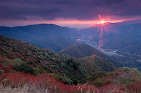Fall Sunset Over Azusa Canyon, San Gabriel Mountains, California