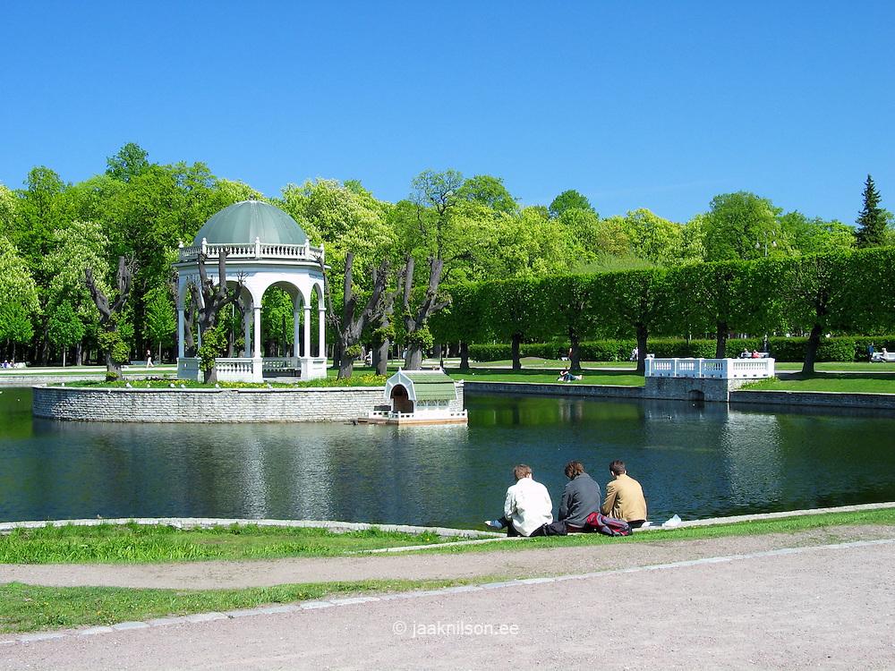 Pergola at Kadriorg Park Pond in Tallinn, Estonia