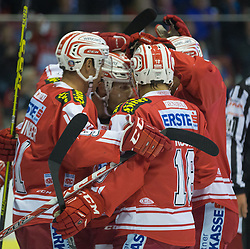 27.09.2015, Stadthalle, Klagenfurt, AUT, EBEL, EC KAC vs HCB Suedtirol, im Bild Jubel zum 2:0 duch Manuel Geier (EC KAC, #21), Oliver Setzinger (EC KAC, #91), Thomas Koch (EC KAC, #18), Thomas Pöck (EC KAC, #22)// during the Erste Bank Eishockey League match betweeen EC KAC and HCB Suedtirol at the City Hall in Klagenfurt, Austria on 2015/09/27. EXPA Pictures © 2015, PhotoCredit: EXPA/ Gert Steinthaler