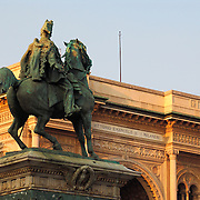 Bronze statue of King Vittorio Emanuele II, Piazza Duomo, Milan, Italy<br />