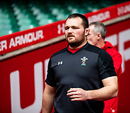 Ken Owens of Wales<br /> <br /> Photographer Simon King/Replay Images<br /> <br /> Six Nations Round 3 - Captains Run - Wales v England - Saturday 22nd February 2019 - Principality Stadium - Cardiff<br /> <br /> World Copyright © Replay Images . All rights reserved. info@replayimages.co.uk - http://replayimages.co.uk