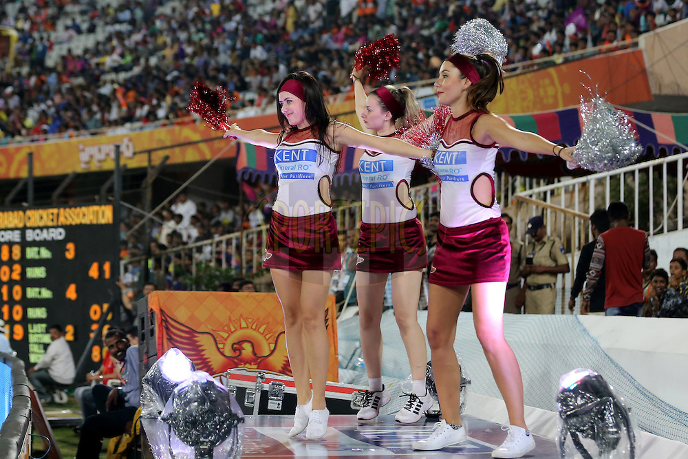 Raising Pune Supergiants cheerleaders  during match 22 of the Vivo IPL 2016 (Indian Premier League ) between the Sunrisers Hyderabad and the Rising Pune Supergiants held at the Rajiv Gandhi Intl. Cricket Stadium, Hyderabad on the 26th April 2016<br /> <br /> Photo by Faheem Hussain / IPL/ SPORTZPICS