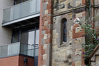 New appartments and old church in Belfast