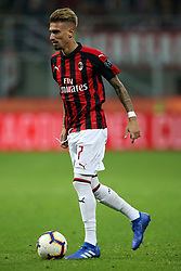 August 31, 2018 - Milan, Milan, Italy - 31st August 2018, San Siro, Milan, Italy; Serie A football, AC Milan versus Roma; Samu Castillejo of Milan controls the ball  Credit: Giampiero Sposito/Pacific Press (Credit Image: © Giampiero Sposito/Pacific Press via ZUMA Wire)