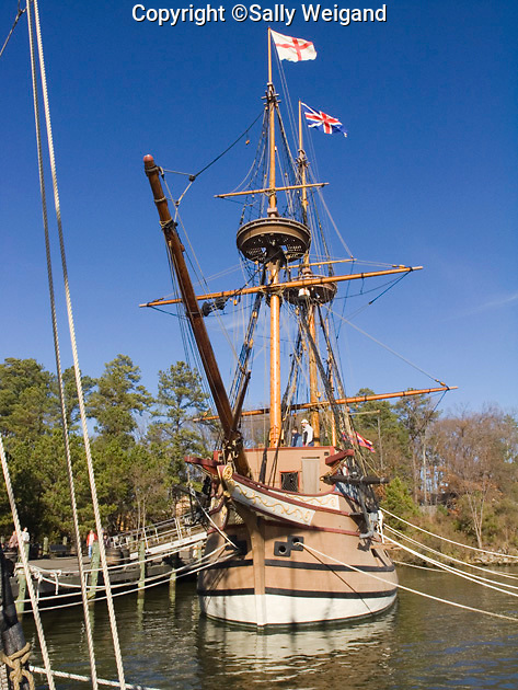 replica of 17th century ship the Susan Constant, 120 ton merchantman, full view; Jamestown Settlement