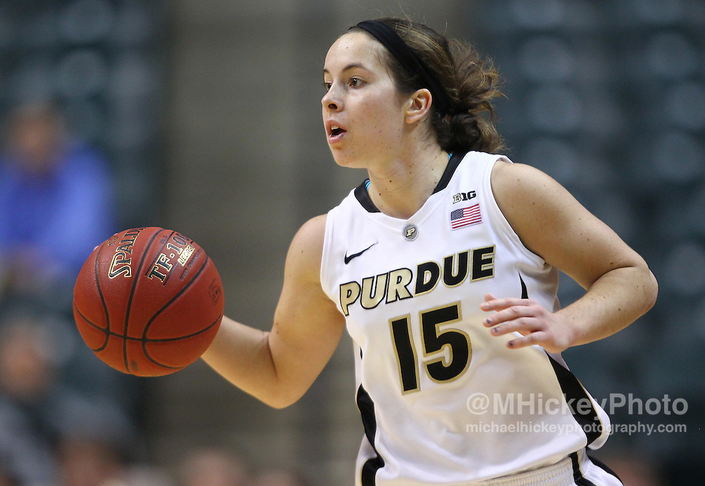 March 04, 2012; Indianapolis, IN, USA; Purdue Boilermakers guard Courtney Moses (15) brings the ball up court against the Nebraska Cornhuskers  during the finals of the 2012 Big Ten Tournament at Bankers Life Fieldhouse. Purdue defeated Nebraska 74-70 in 2OT. Mandatory credit: Michael Hickey-US PRESSWIRE