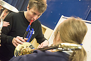 A creative day with basic improvisation and introductory technique to 'try out' instruments and music ensemble learning. Partly a consultation session to find out what the students want to do with music in the future. With facilitators Joe Brown and Phil White. February 2017