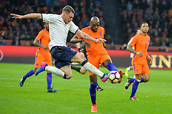March 28, 2017 - Amsterdam, Netherlands - Bruno Martins Indi from the Netherlands is challenged for the ball by Andrea Belotti from Italy during the friendly match between Netherlands and Italy on March 28, 2017 at the Amsterdam ArenA in Amsterdam, Netherlands. (Credit Image: © Andy Astfalck/NurPhoto via ZUMA Press)