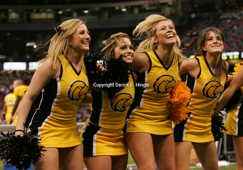 21 December 2008:  Southern Miss cheerleaders during a 30-27 overtime victory over the Troy Trojans in the  R+L Carriers New Orleans Bowl at the New Orleans Superdome in New Orleans, LA.