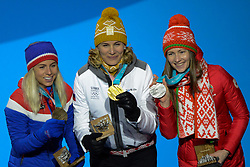 February 18, 2018 - Pyeongchang, South Korea - DARYA DOMRACHEVA of Belarus (left) , ANASTASIYA KUZMINA of Slovakia (center) and TIRIL ECKHOFF of Norway with their medals from the Women's 12.5km Mass Start Biathlon event in the PyeongChang Olympic Games. (Credit Image: © Christopher Levy via ZUMA Wire)